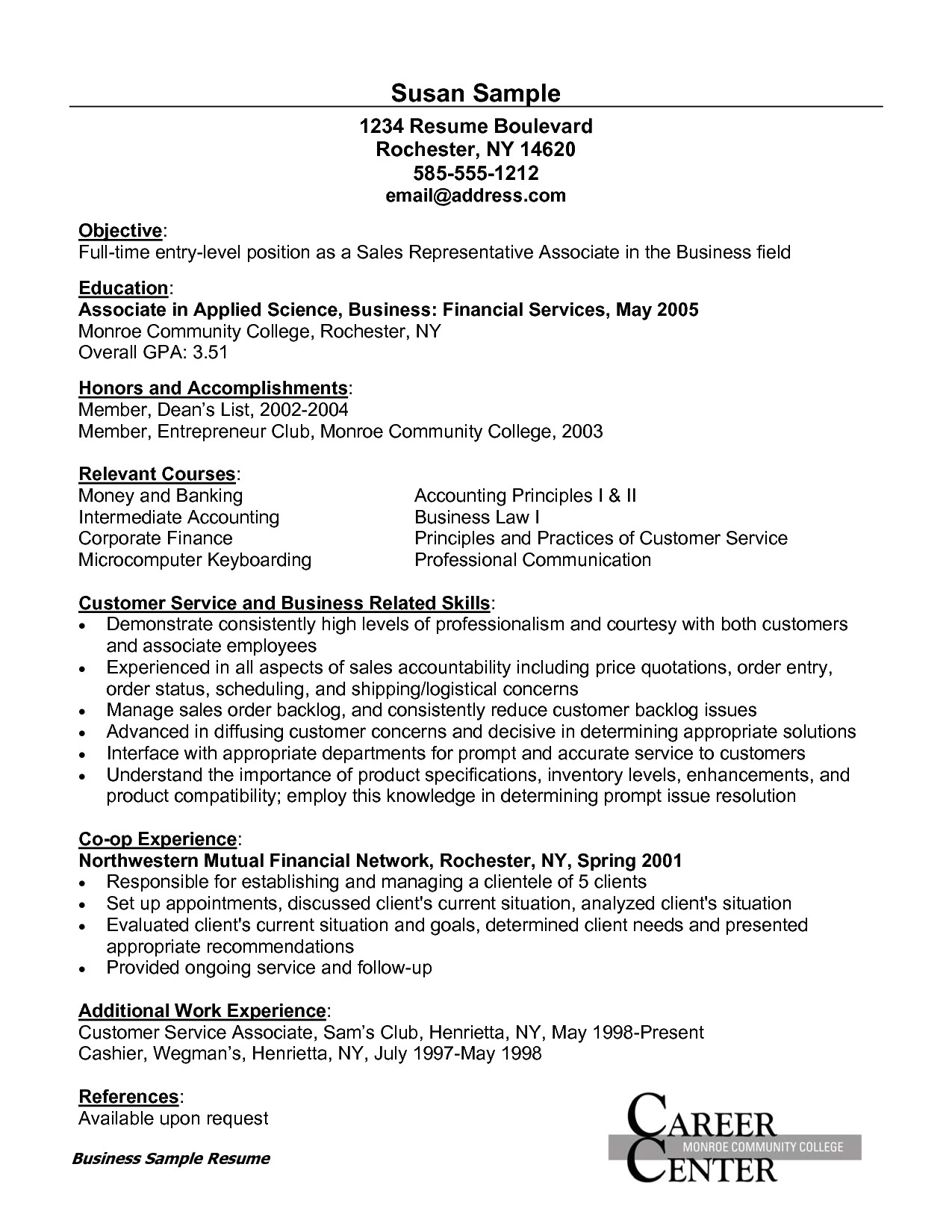 sample resume for customer service associate