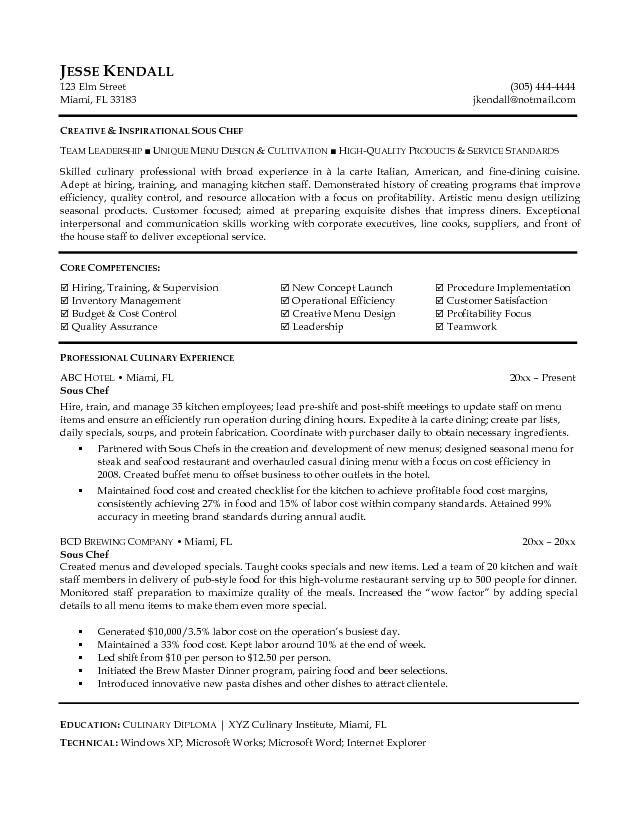 culinary student resume