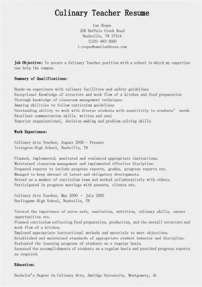 Sample Resume for Culinary Arts Student Culinary Student Resume Best Resume Collection