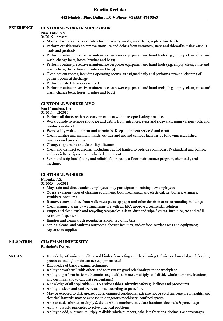 custodial worker resume