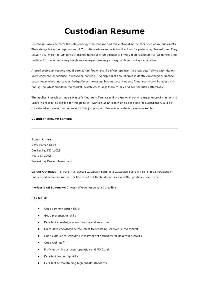 Sample Resume for Custodial Worker Custodian Resume Template Resume Builder