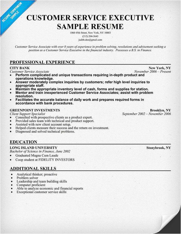 Sample Resume for Customer Care Executive Customer Service Executive Resume Sample Resumecompanion