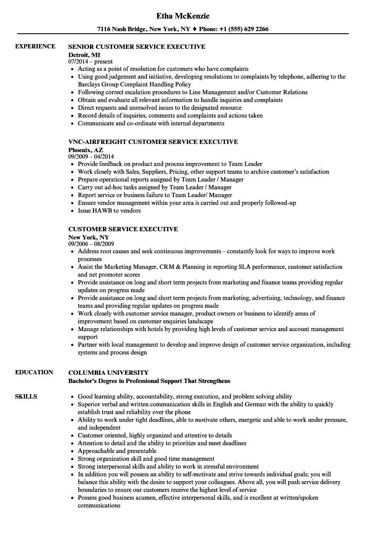 customer service executive resume sample
