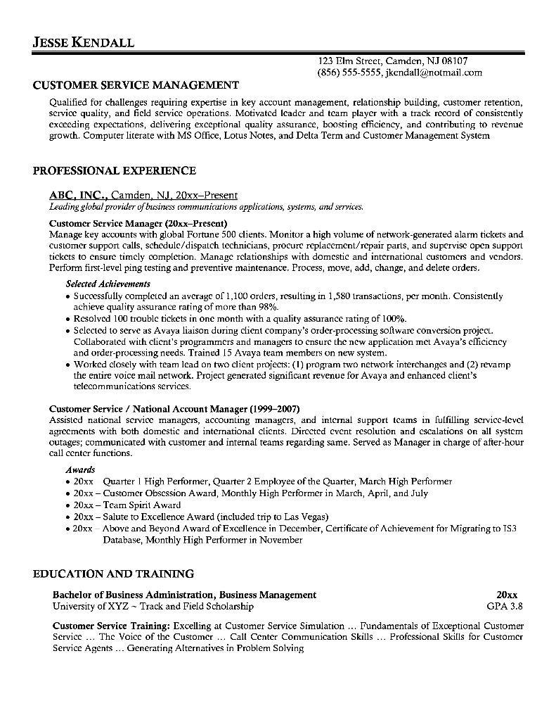 sample resume customer care executive
