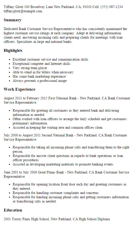 Sample Resume for Customer Service Representative In Bank 1 Bank Customer Service Representative Resume Templates