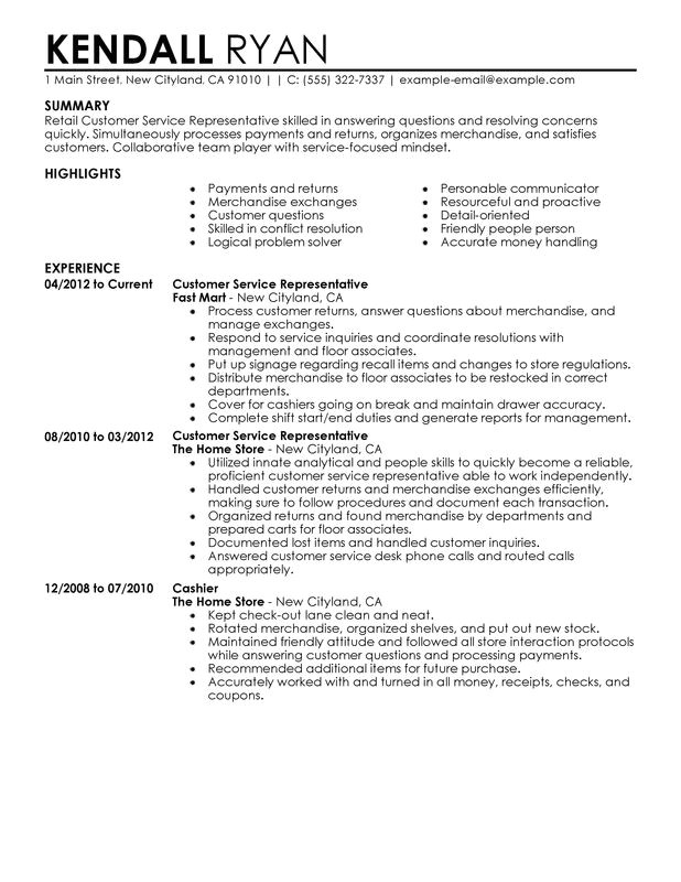 Sample Resume for Customer Service Representative In Retail Customer Service Representative Resume Examples Created