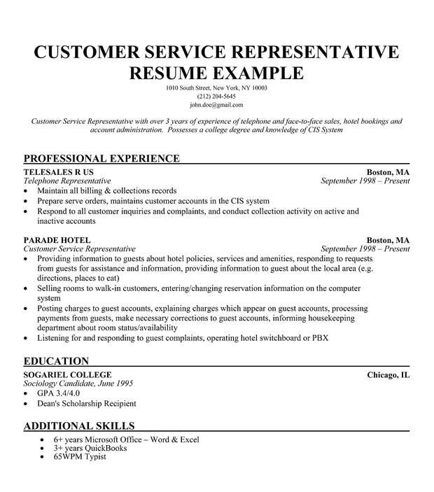 customer service representative sample resume