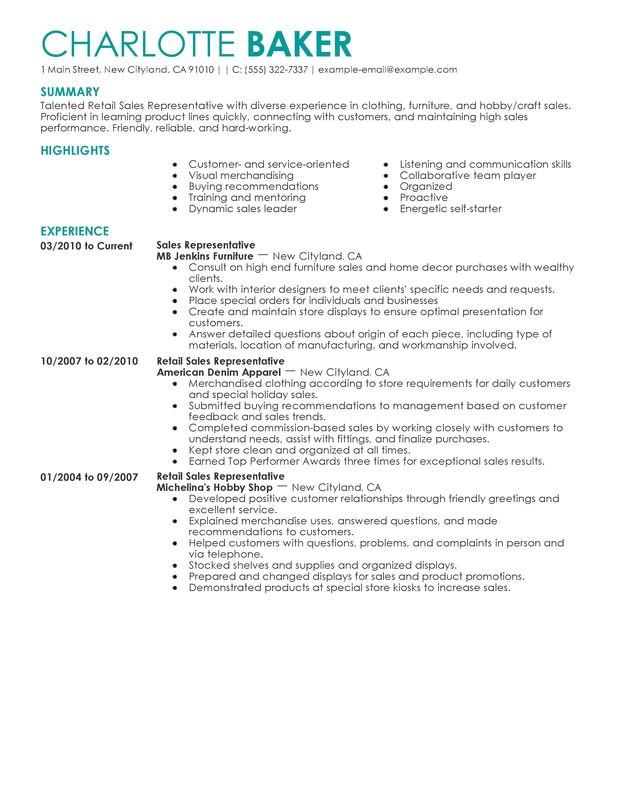 rep retail sales resume sample