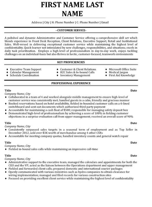 customer service professional resume sample