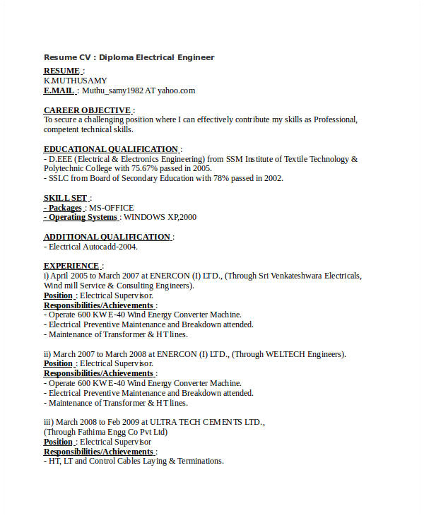 Sample Resume for Diploma Electrical Engineer Free Engineering Resume Templates 49 Free Word Pdf