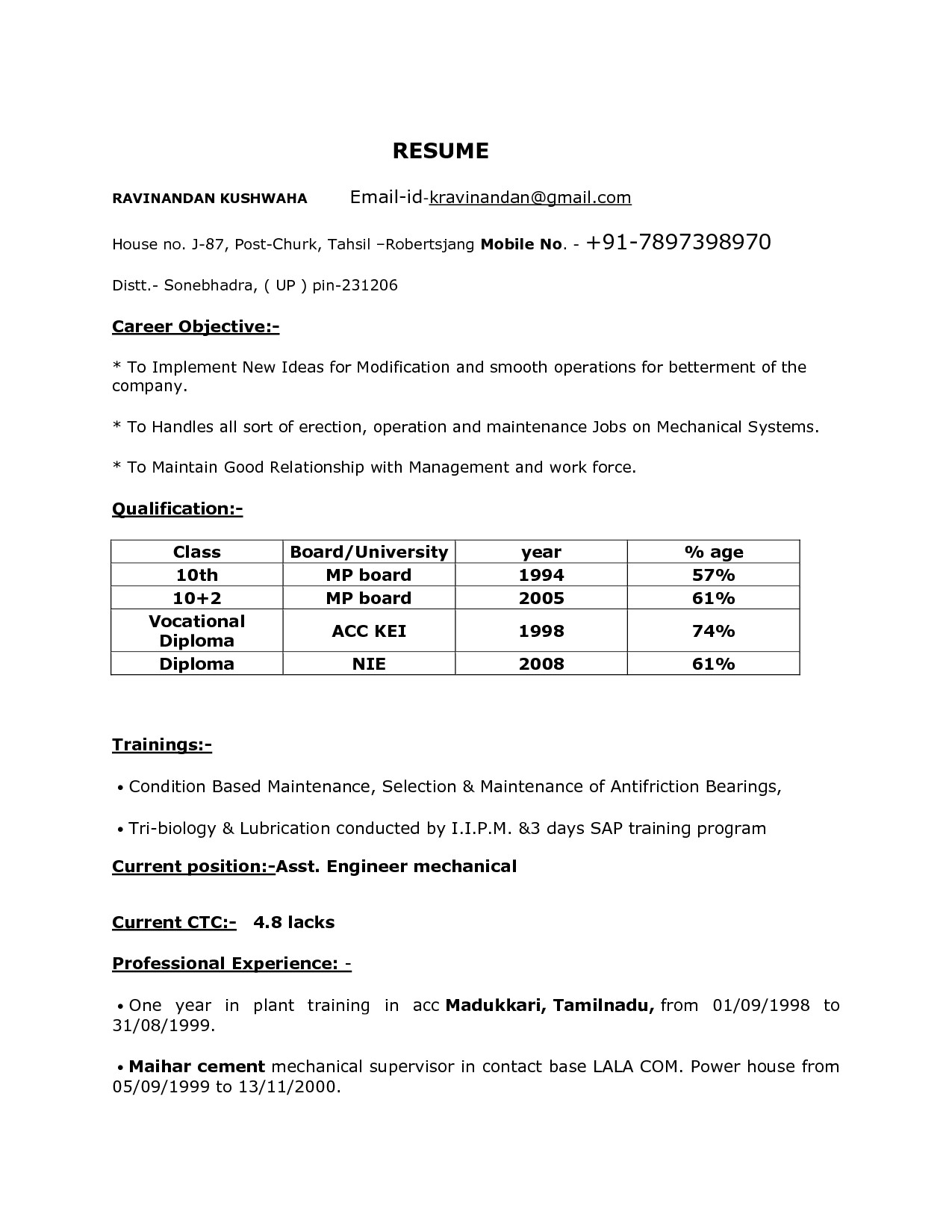sample resume format for diploma mechanical engineers