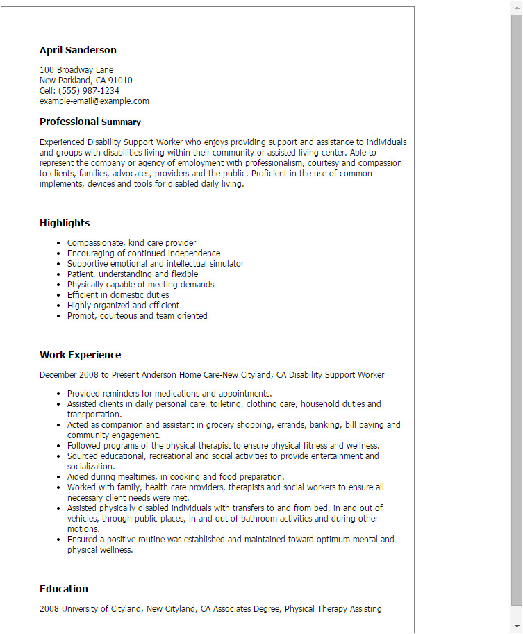 Sample Resume for Disability Support Worker Disability Support Worker Resume Template Best Design