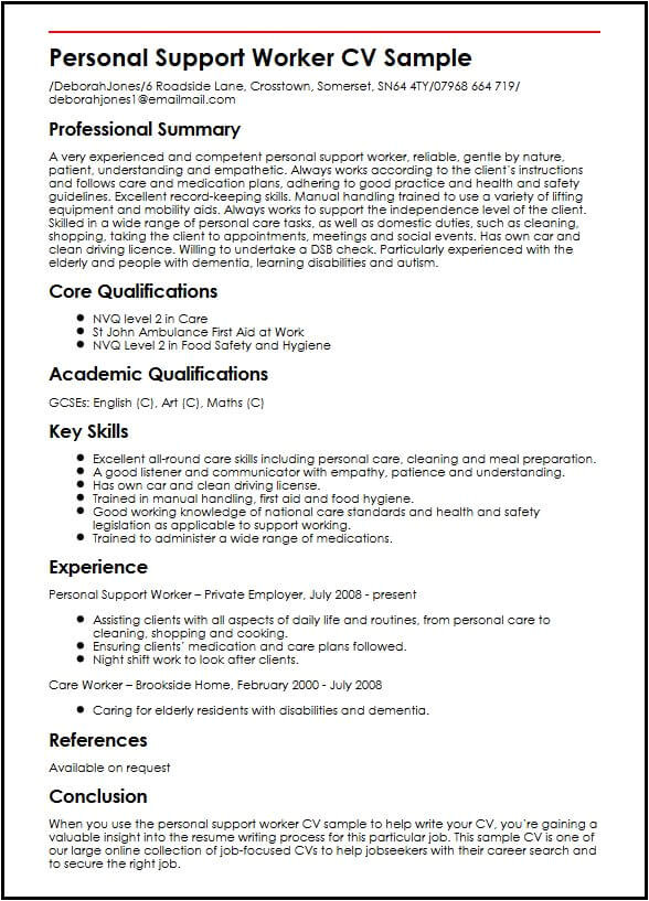 personal support worker cv sample