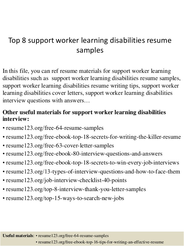 top 8 support worker learning disabilities resume samples