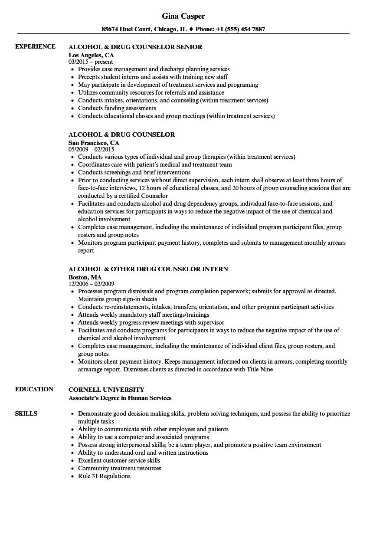 drug counselor resume sample
