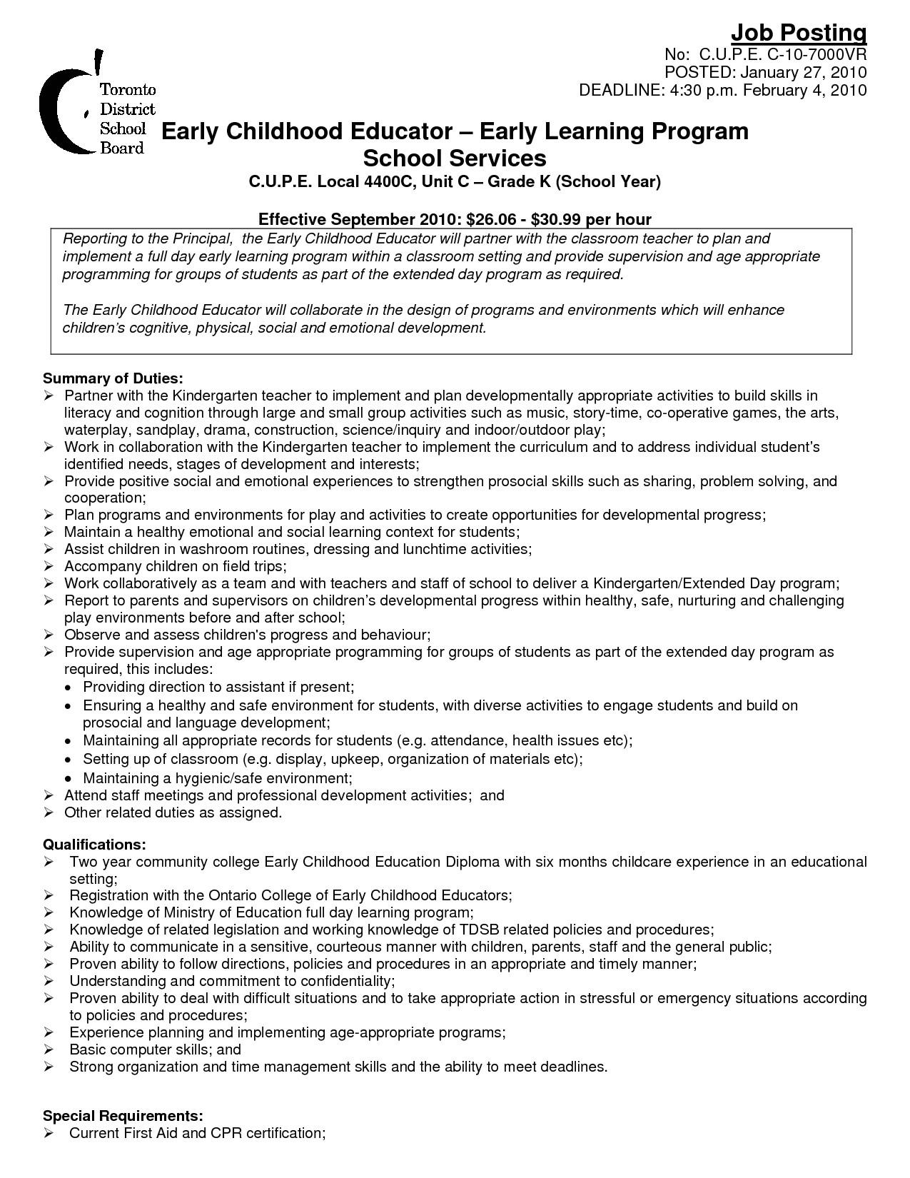 Sample Resume for Early Childhood Educator Early Childhood Education Resume Suiteblounge Com