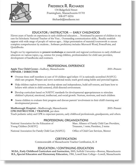 early childhood educator resume
