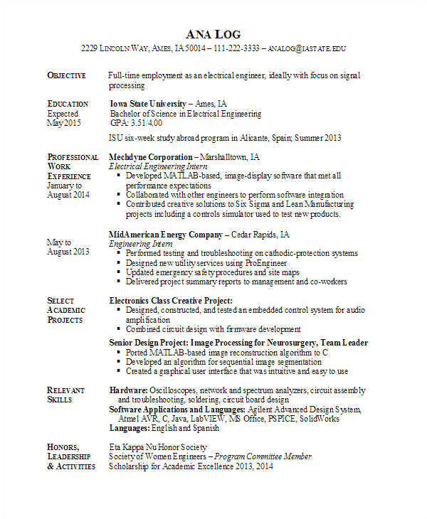 best engineering resume template