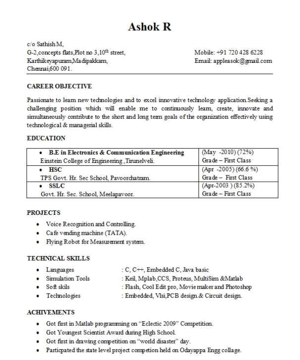Sample Resume for Ece Engineering Students Resume for B E Ece Students 2018 2019 Studychacha