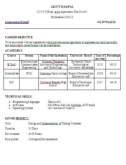 resume format for final year students