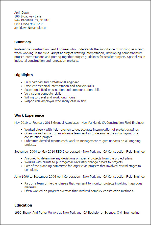 construction field engineer