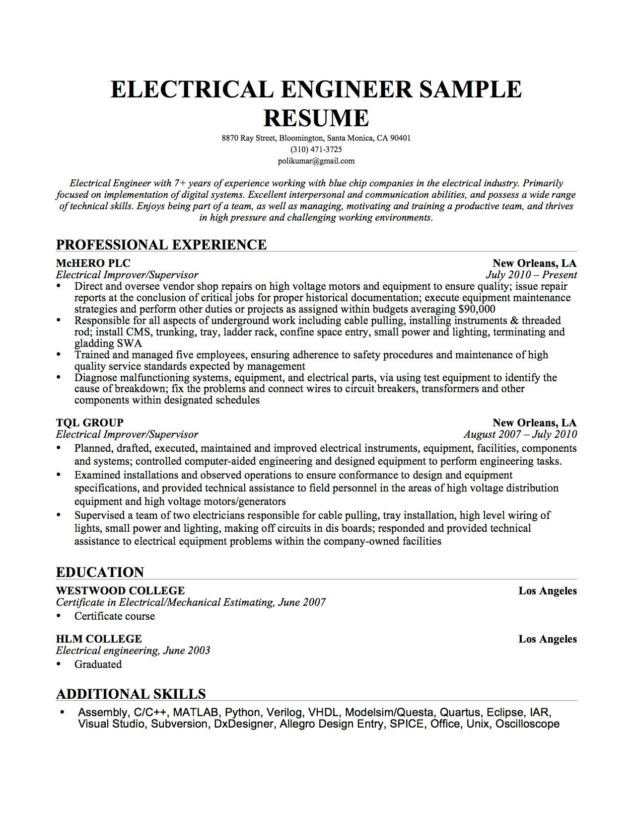 senior electrical engineer resume sample