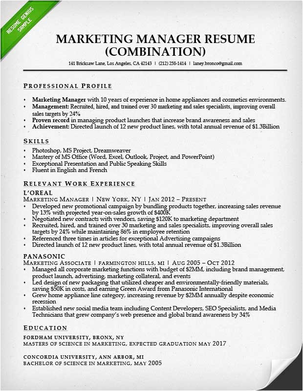 Sample Resume for Experienced Marketing Professional Marketing Resume Sample Resume Genius