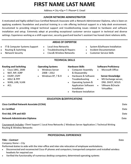jr network administrator resume sample