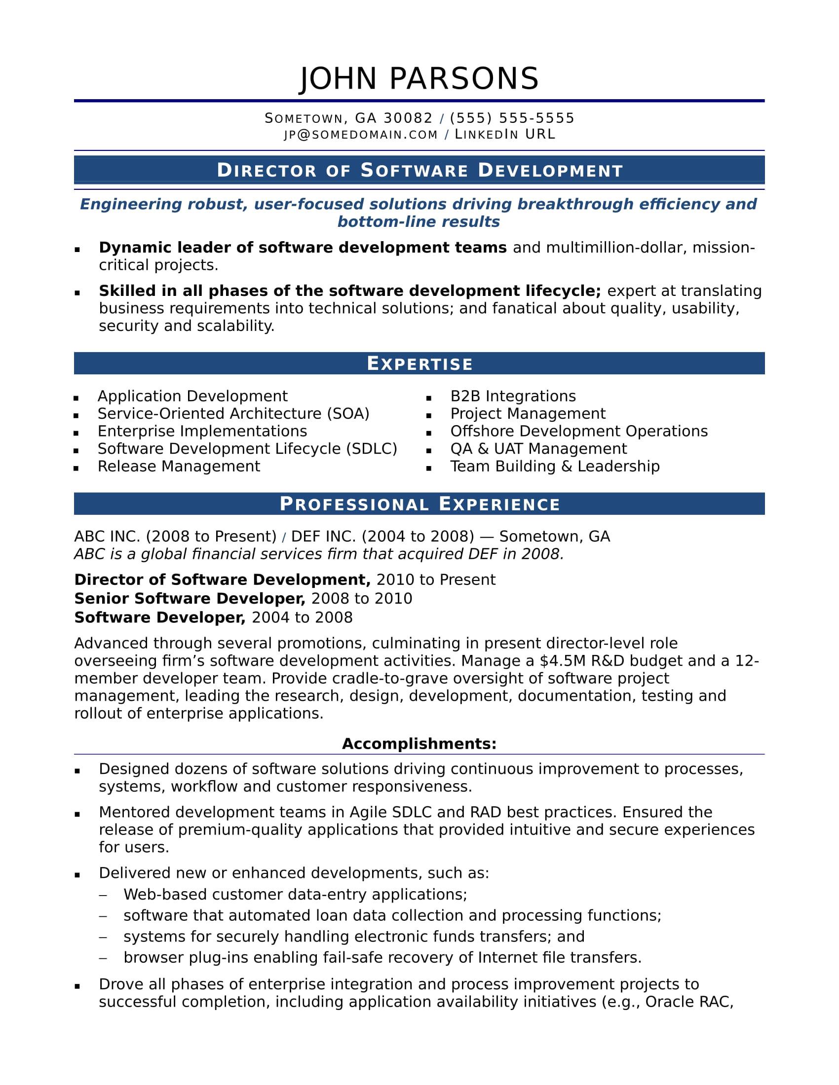 sample resume it developer experienced