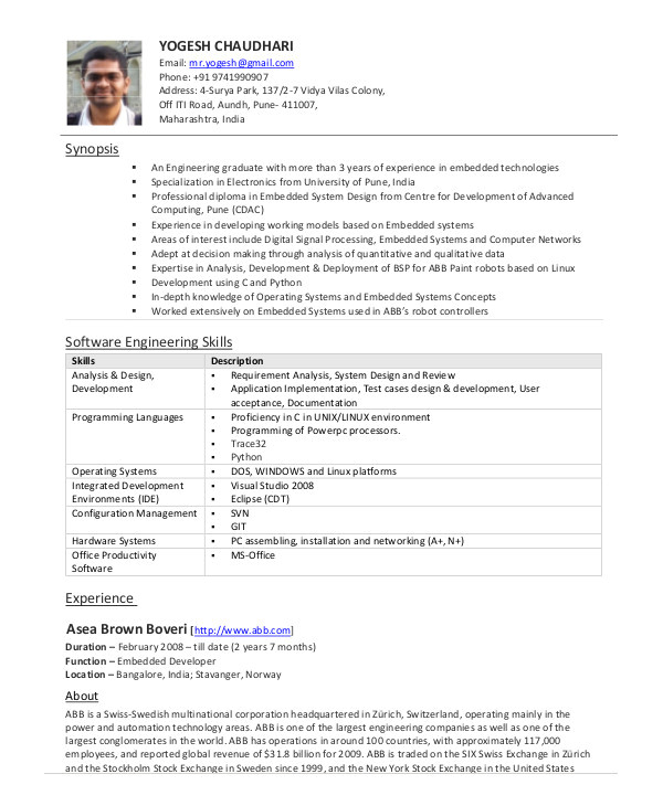 Sample Resume for Experienced software Engineer Pdf software Engineer Resume Example 10 Free Word Pdf