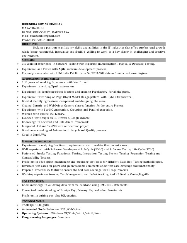 sample resume for manual testing professional of 2 yr experience