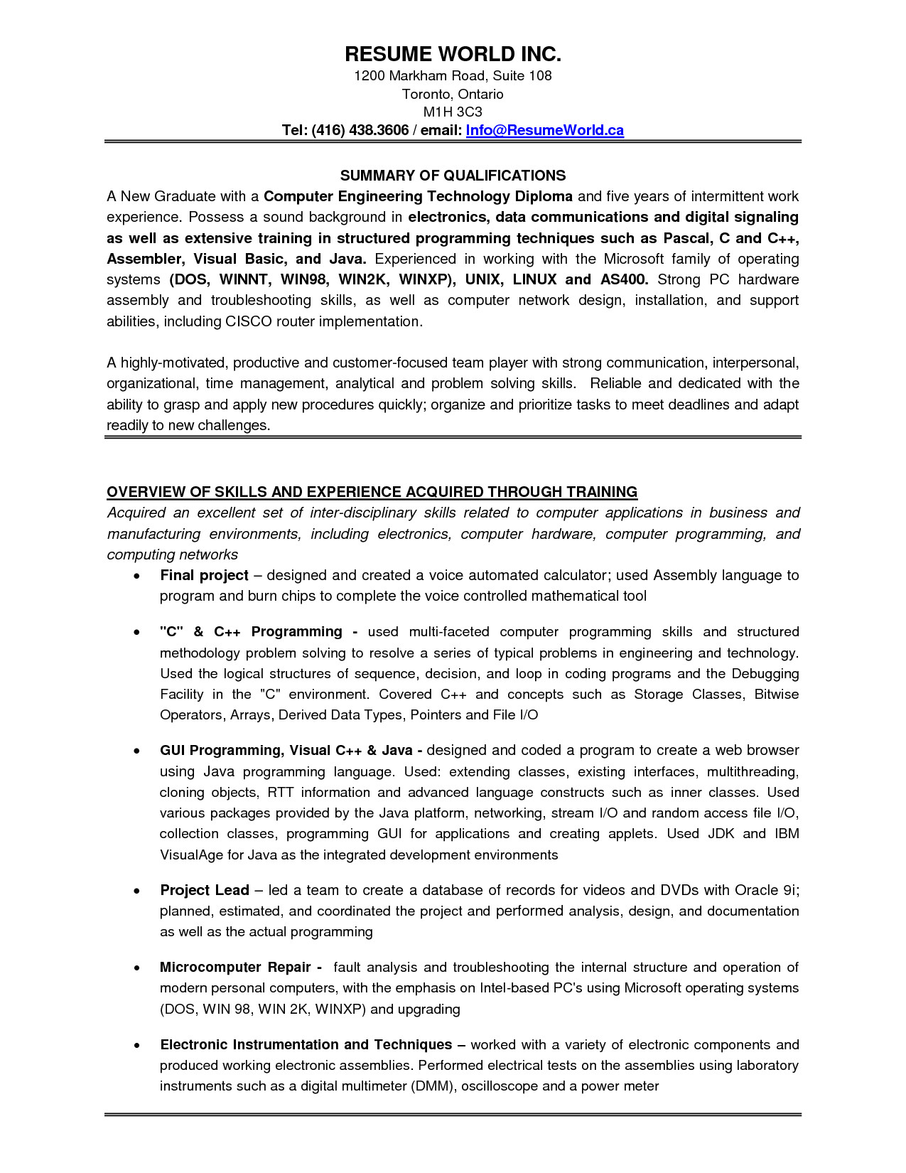 sample resume for experienced testing professional
