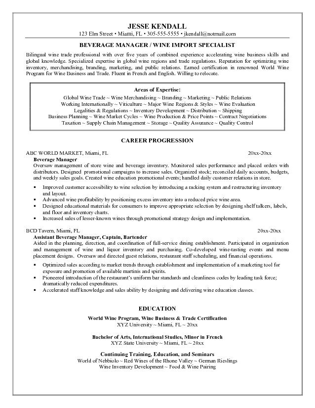 food and beverage manager resume 1550