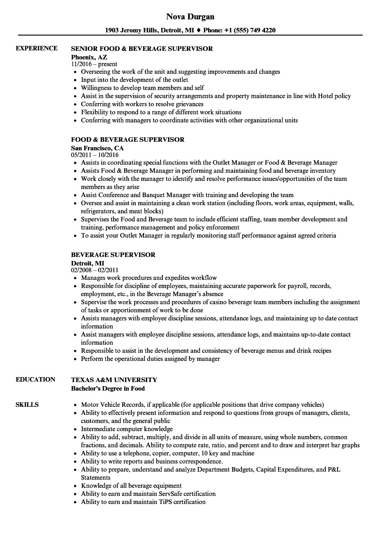 food and beverage supervisor resume