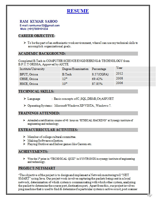 Sample Resume for Fresher Computer Science Engineer Resume format for Computer Science Engineering Students