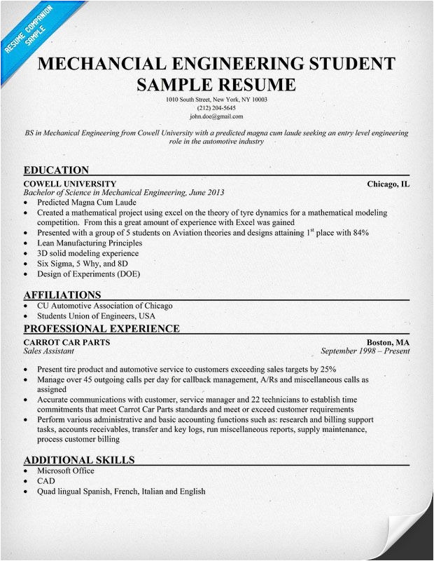 Sample Resume for Fresher Mechanical Engineering Student Sample Resume for Fresher Mechanical Engineering Student