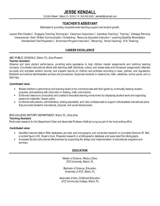 sample resume for graduate assistant position