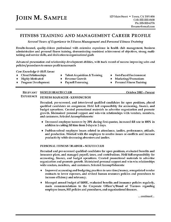 Sample Resume for Gym Instructor Fitness Trainer Resume Example