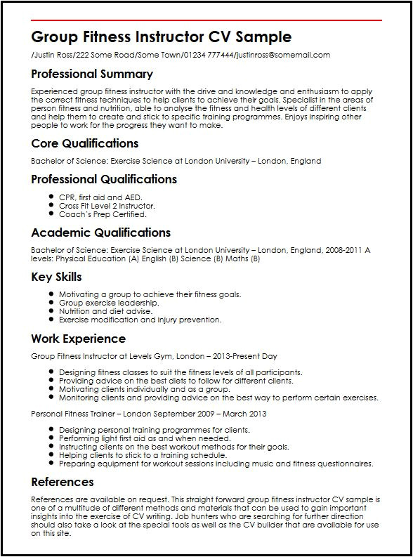 group fitness instructor cv sample
