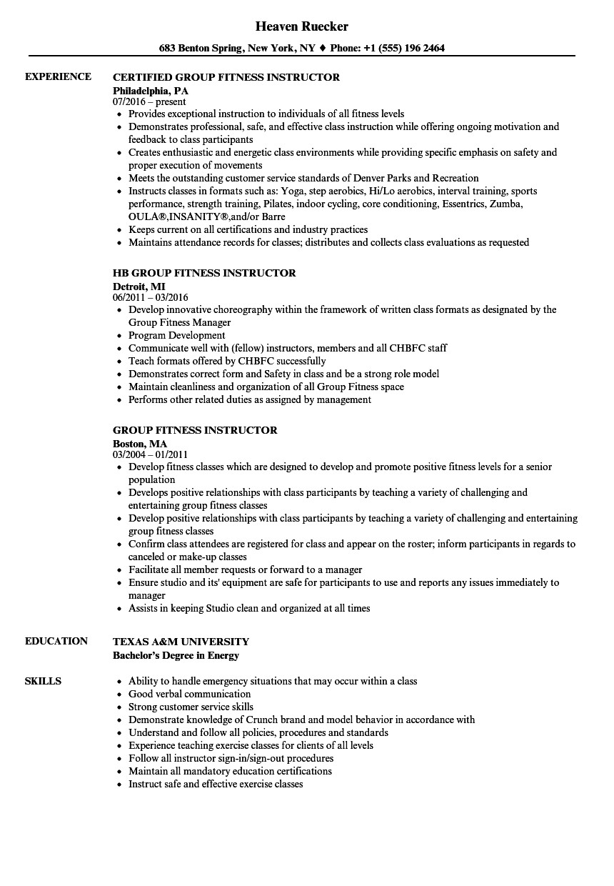 group fitness instructor resume sample