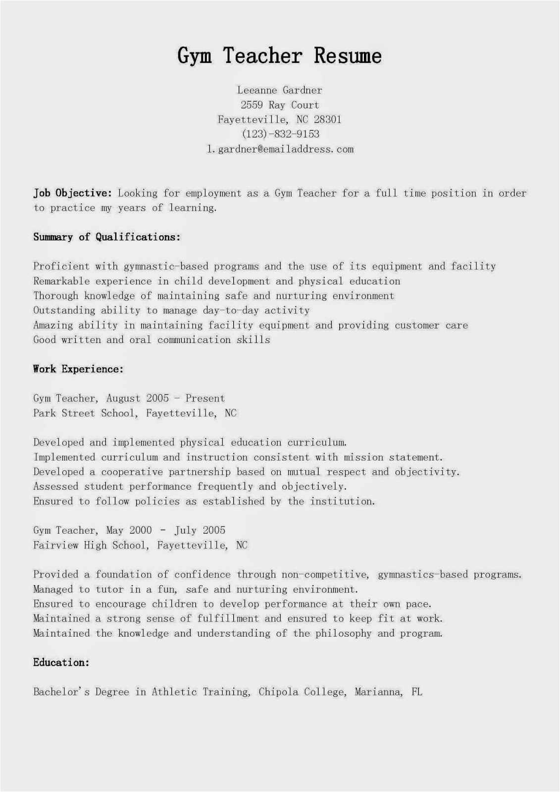 gym teacher resume sample