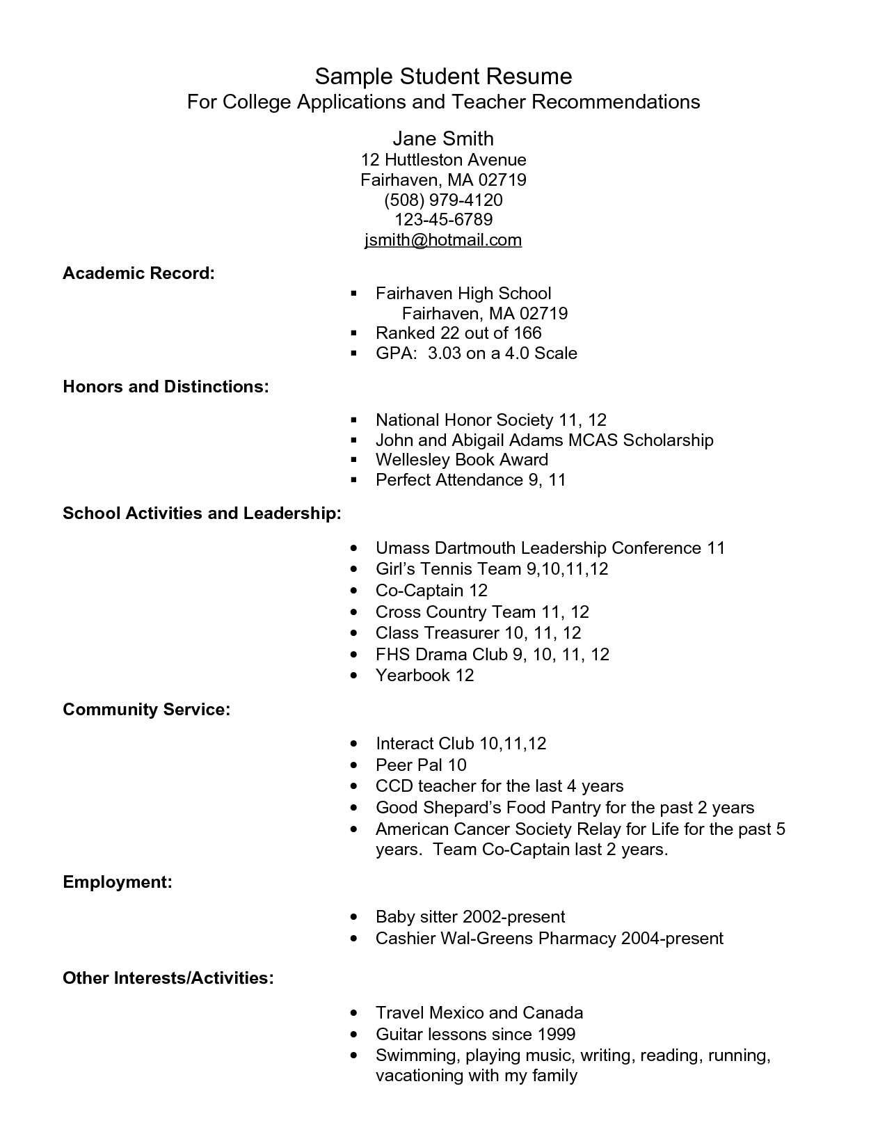 Sample Resume for High School Student Applying to College Example Resume for High School Students for College