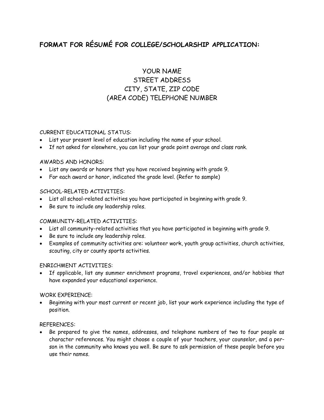Sample Resume for High School Students Applying for Scholarships College Scholarship Resume Template 1197 Http