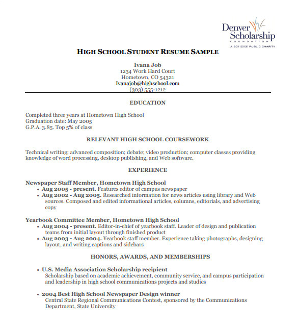 Sample Resume for High School Students Applying for Scholarships High School Resume Template 9 Free Word Excel Pdf