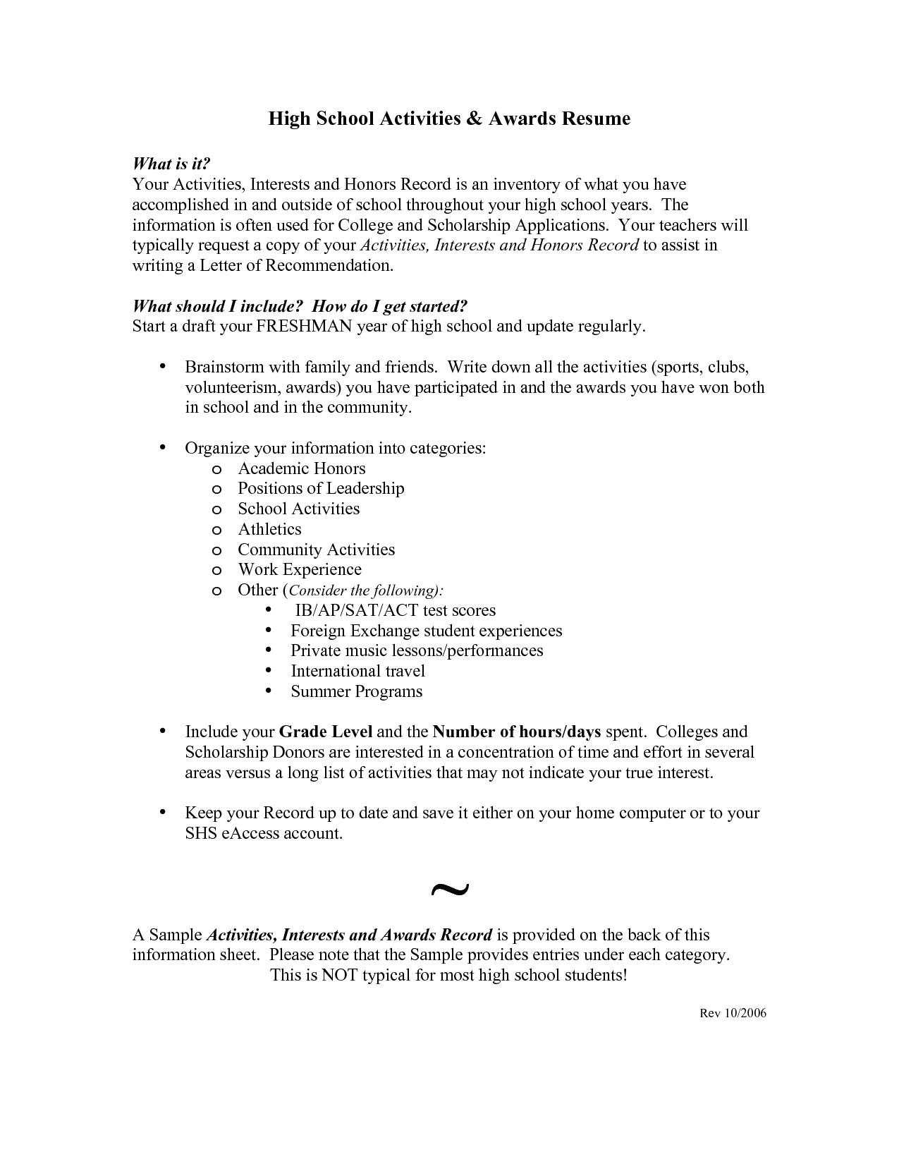 sample resume for high school students applying for scholarships