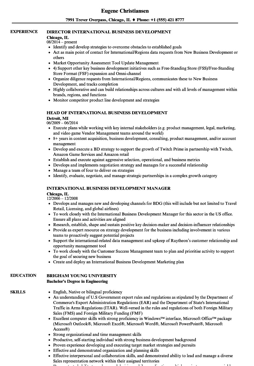 international business development resume sample