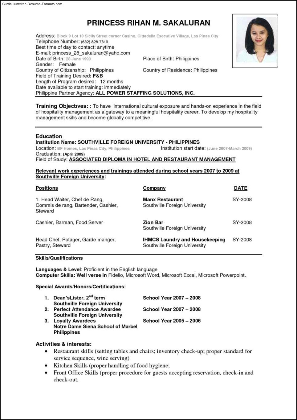 international resume template