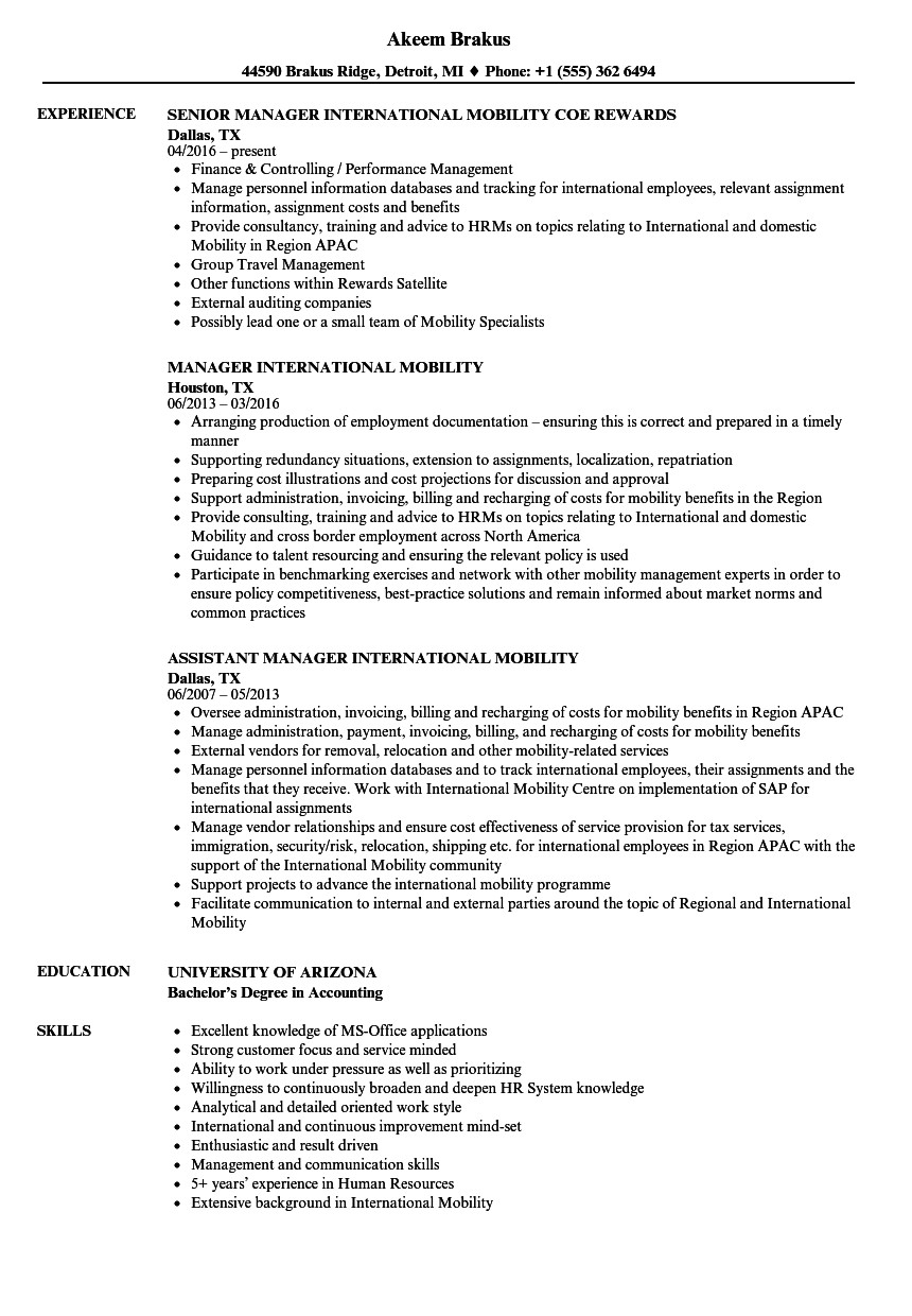 international work experience resume sample
