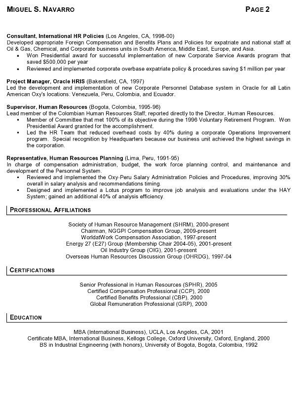 Sample Resume for International Jobs Resume Sample 11 International Human Resource Executive