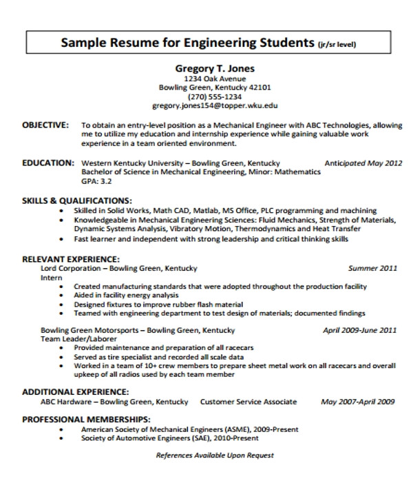 engineering resume template pdf